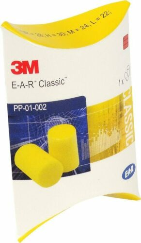 3M EAR Classic ear plugs, 50 pairs packed in pairs, yellow, SNR = 28dB, Ear
