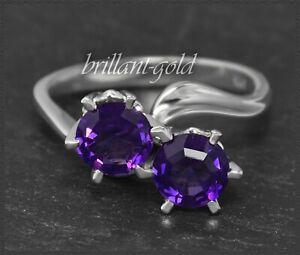Amethyst-Ring-aus-585-Gold-Weissgold-Cocktailring-6mm-violette-Amethyste-Neu