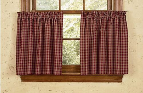 "1 pr Sturbridge Wine Tan Check Cotton Window Tiers 72""Wide x 24""Long Curtains"