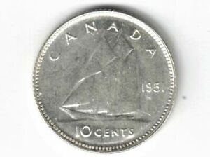 CANADA-1951-TEN-CENTS-DIME-KING-GEORGE-VI-800-SILVER-COIN-CANADIAN