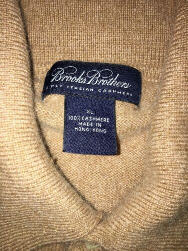 Brooks Brothers 100% Cashmere Camel 3 Button Down