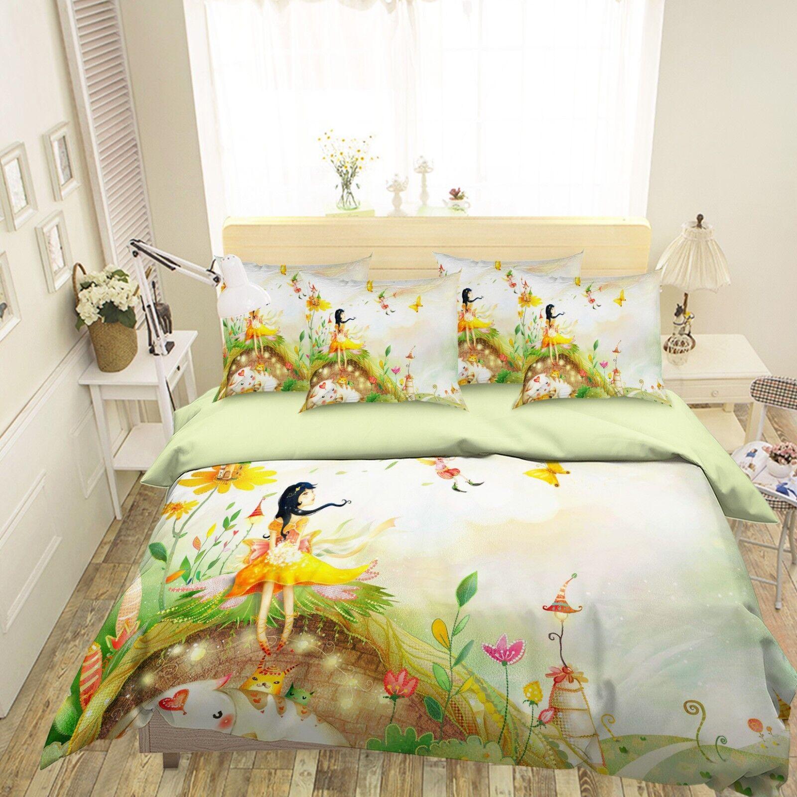 3D giallo Girl 6 Bed Pillowcases Quilt Duvet Cover Set Single Queen King AU Cobb