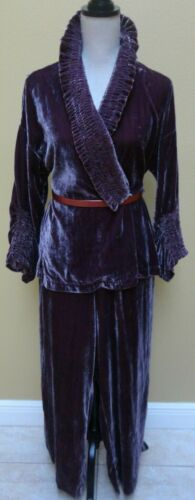 Marla Wynne Crushed Velvet Smocked Pant Suit/Loung