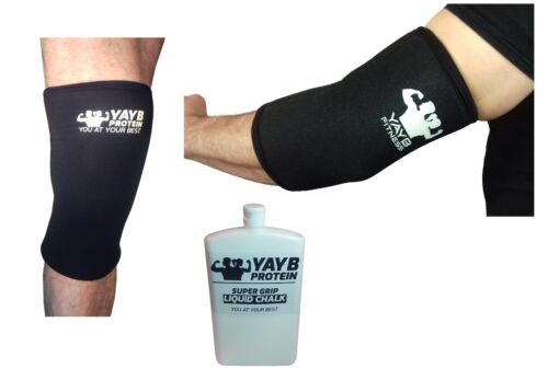 YAYB 7mm Pro Strong Knee and Elbow Sleeves +FREE 300ml Liquid Chalk Bundle