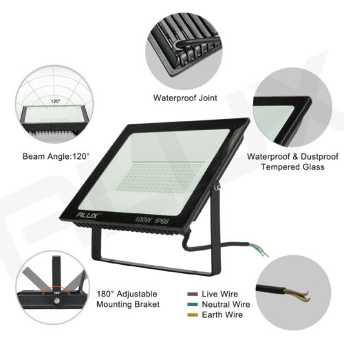 Ultra Thin 20W-100W LED Flood Light Outdoor Security Cool White Waterproof IP66