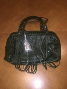 Buffalo-David-Bitton-dark-green-leather-barrel-tote-hobo-satchel-purse-handbag