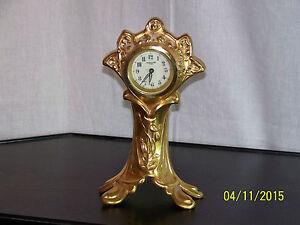 Fine French Antique Faience Porcelain Green Art Nouveau Clock Art Nouveau