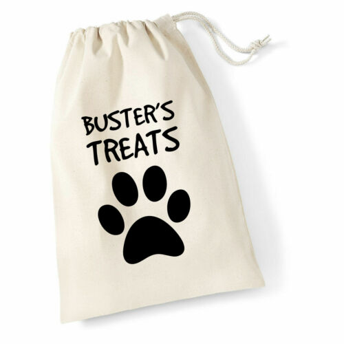 Personalised Dog//Cat Cotton Drawstring Treat Bag Name With Paw Print Doggy Pooch