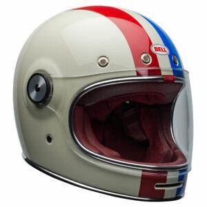 Bell-Bullitt-DLX-Command-Vintage-White-Red-Blue-Motorbike-Motorcycle-Helmet