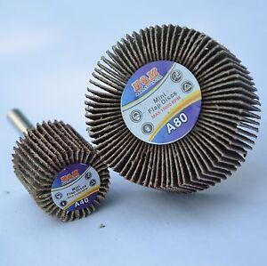 "50 Abrasive Flap Wheels 1""x5/8""x1/4"" A/O 120 Grit. Sanding Disc shank mounted"