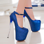 Womens-Platform-Super-High-Heels-Round-Toe-Pumps-Ankle-Buckle-Belt-Bling-Shoes thumbnail 11