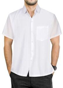 La Leela Herren tropischen Button Down Kurzarm Hemd für Männer weiß _ w877 groß