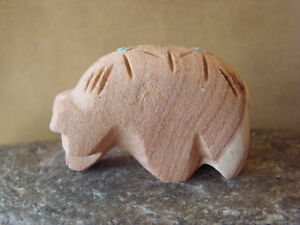 Zuni-Indian-Hand-Carved-Sandstone-Walking-Bear-Fetish-by-Brandon-Phillips-FF549