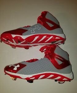 2652037da220 MENS UNDER ARMOUR SPINE HEATER MID METAL CLEATS RED GREY SIZE 10.5 ...