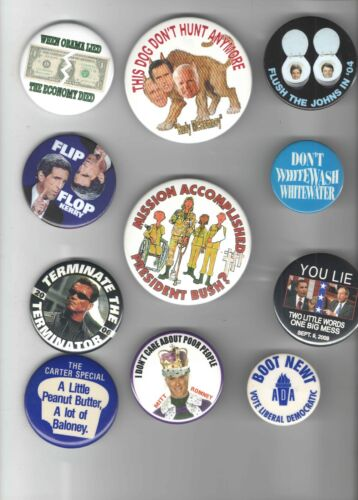 11 Satirical Old pin ANTI REPUBLICAN pinback & Anti DEMOCRATIC button