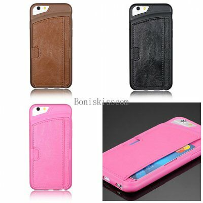Ultra Thin Leather Wallet Credit Card Slot Holder Back Case Cover for iPhone 6