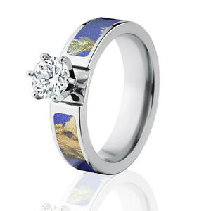Purple Camo Wedding Rings