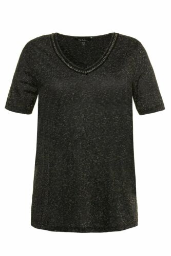 Cadeau * ULLA POPKEN Chemise Avec perlenband Regular Noir
