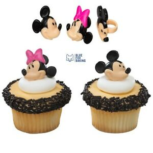 Mickey & Minnie Mouse Cupcake Toppers Rings - 24 pcs Cake Toppers Birthday Party