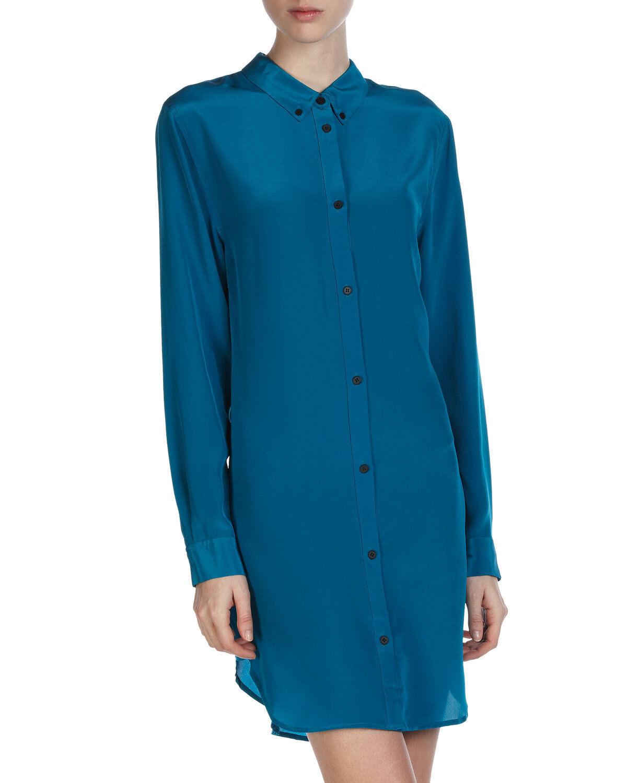 NWT CUT25 byYIGAL AZROUEL BRAND Sz8 SILK BUTTONDOWN SHIRT-DRESS blueE INCA