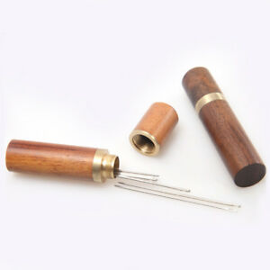 1Pc-Antique-Treadle-Hand-Crank-Sewing-Machine-Needles-Wood-Tube-Container-Peachy