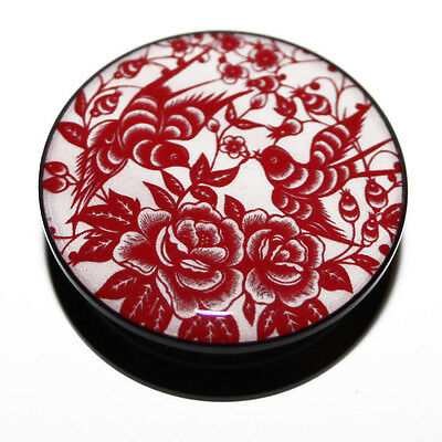 Pink Red Oriental Swallow Rose Flower Acrylic Ear Plug Flesh Tunnel 4mm - 25mm
