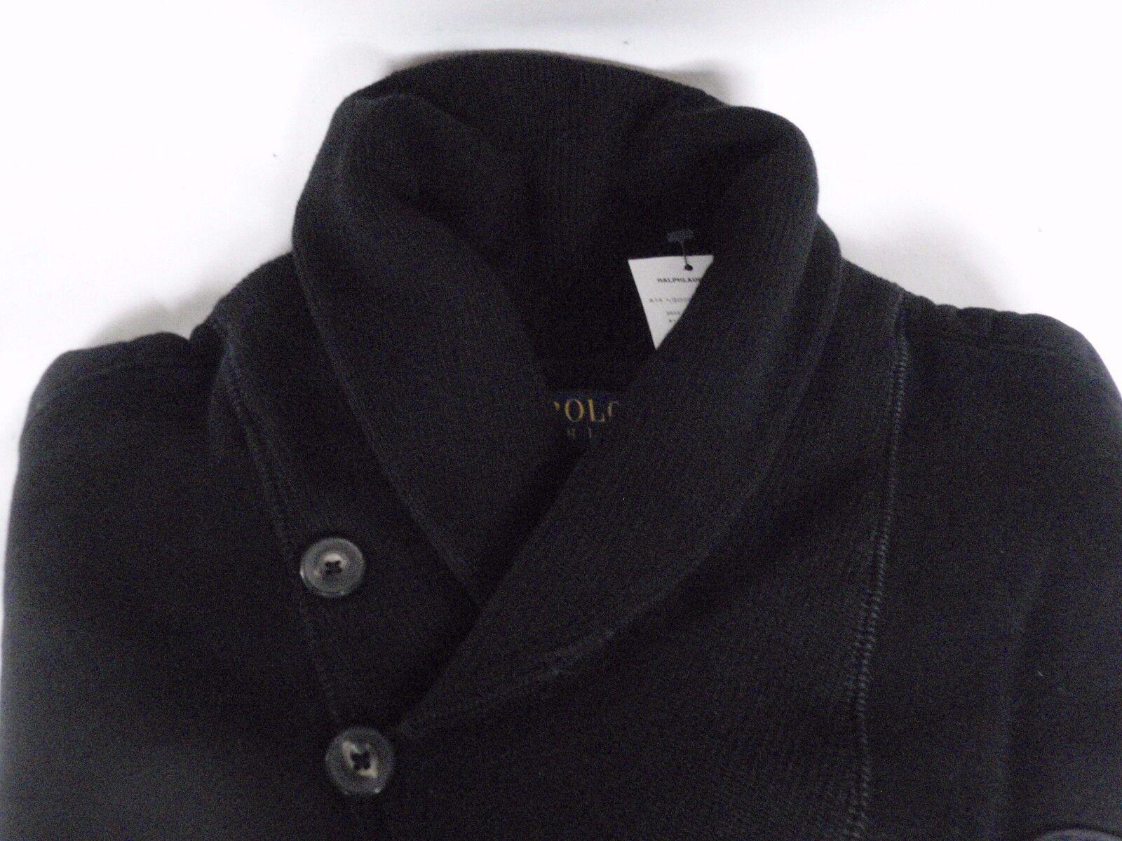 NUOVA linea uomo RALPH LAUREN nero Cotone Scialle Scialle Scialle Collo Maglione Pullover Piccolo 98d24e