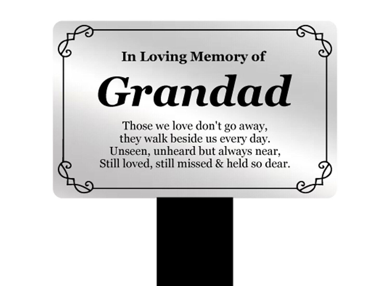 Abuelo Memorial Recuerdo Placa Estaca Plata Y Negro Acrílico Impermeable