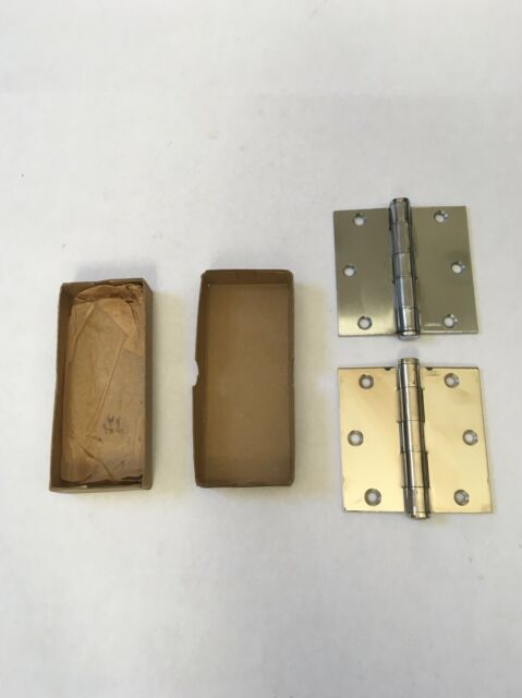 "Plated w// Brass Tone Steel 3.5/""x3.5/""  Interior Door 5//8/"" Radius Hinges"