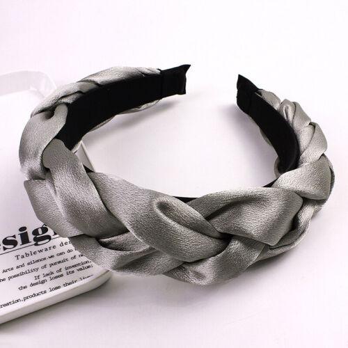 Women Satin Cross Twisted Braid Headband Head Hoop Solid Color Hair Accessories