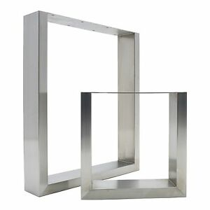 Image Is Loading 2 X STAINLESS STEEL Table Legs Sleek Modern