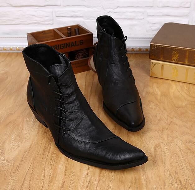 Punk Uomo Pelle Pointed Toe Riding Lace up Hairstylist Ankle Stivali Heels Dress