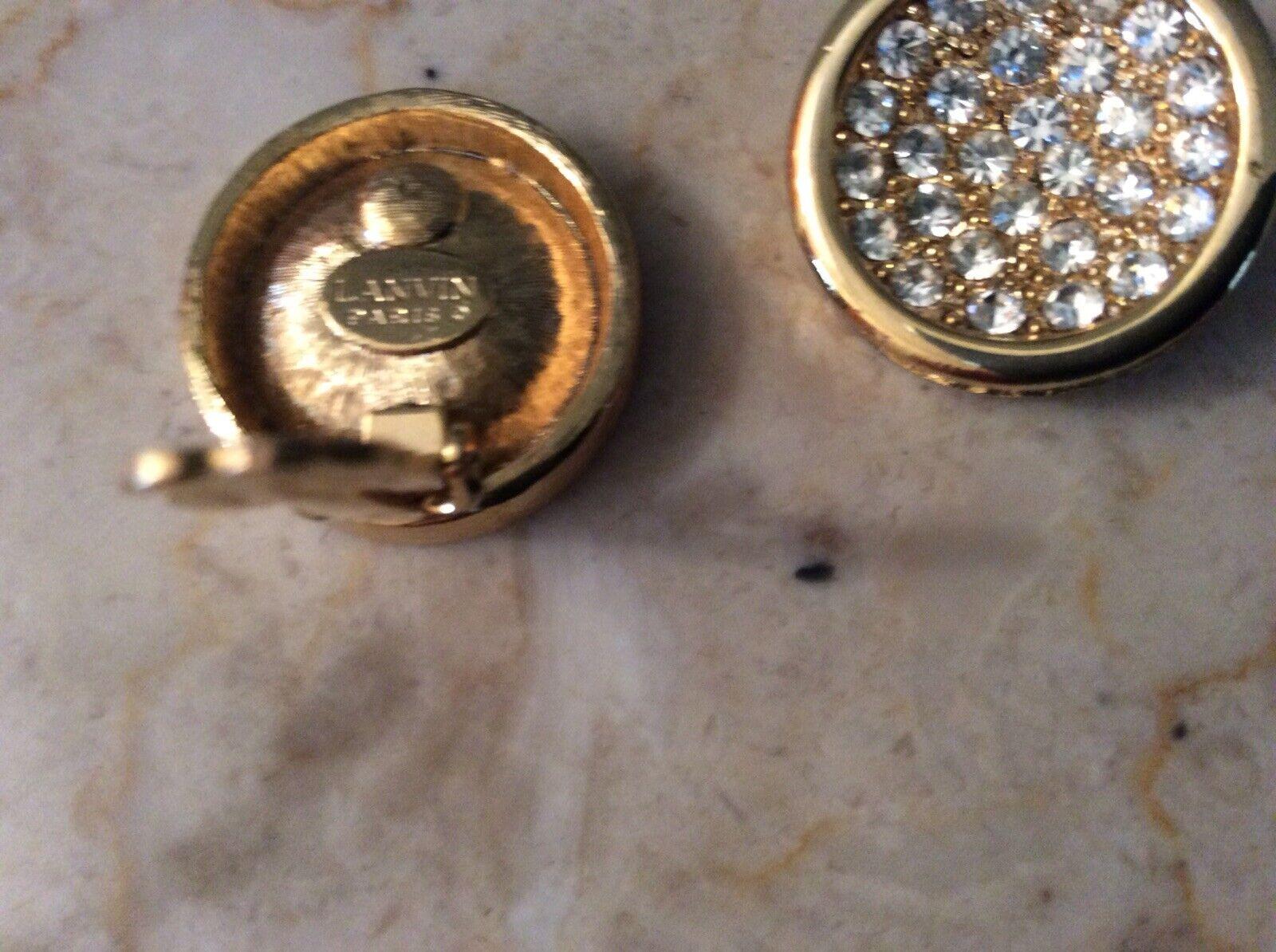 Vintage Lanvin Paris Gold Tone Rhinestone Pave Cl… - image 6
