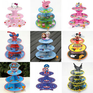 Image Is Loading 3 Tier Cupcake Cake Stand Cartoon Children Boy