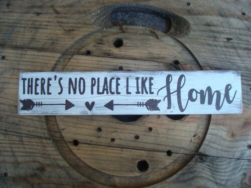 Handmade farmhouse decor. There/'s no place like home rustic wood sign