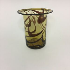 Vintage-Brown-Glass-Vase-Brown-Swirl-with-Rough-Pontil-6-1-2-034-H-6-034-Top-4-034-Base