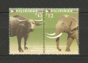 PHILIPPINES-2019-THAILAND-JOINT-ISSUE-ELEPHANT-amp-CARIBOU-SE-TENANT-SET-2-STAMPS