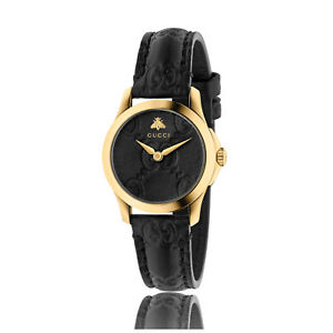 New Gucci G-Timeless Gold-Tone Black Leather Strap Women s Watch ... 104d4a0bc35