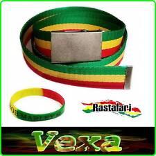 Rasta Reggae Belt trouser Canvas Mens Boys 95cm Bob Webbing strap Gift Wristband