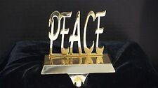 """Shiny Gold Tone PEACE """" Stocking Holder """" EUC"""