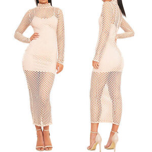 Womens-Ladies-Fishnet-High-Polo-Neck-Maxi-Midi-Bodycon-Dress-Long-Sleeve-Midaxi