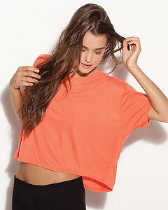 Bella Ladies Boxy Cropped Crewneck T-Shirt Womens S-L/XL Dance Fitness top B8881