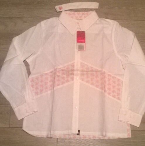 Ladies show shirt equestrian horse riding Jumping white pink Rockfish Riders NEW