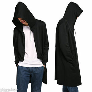 Men's Punk Hooded Sweater Cardigan Long Cloak Cape Coat Poncho Hip ...