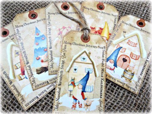Conjunto de 6 Assorted escandinavo nómadas Novedad Regalo De Navidad Etiquetas Y Cadena