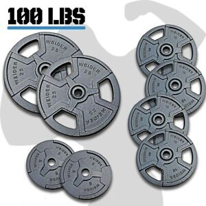 HEAVY-DUTY-WEIGHT-Plates-Set-100lb-Standard-1-034-Home-Gym-Exercise-Lifting-Weights
