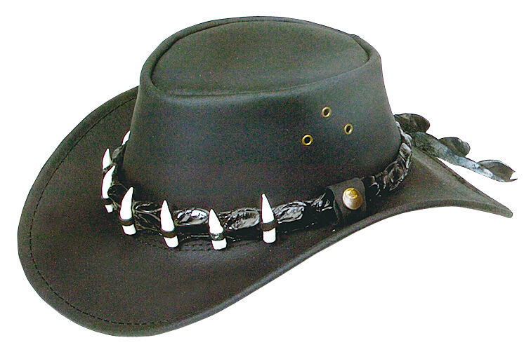 Oil with Wax Leder hat with Oil crocodile  Band and  7 teeth Large 59 cm  w/ CHINSTRAP a6e0e3