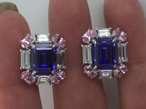 Dani by Daniel K Lab Created Pink /& Blue Sapphire /& Clear CZ Silver Earring