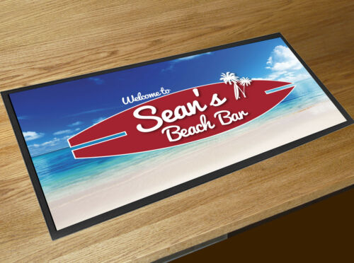 Personalised with your name Beach Bar surf board bar runner Cocktail Bars