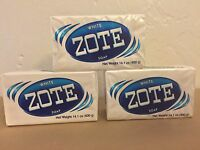 3 Bars Of White Zote Soap 14.1 Oz Each X 3 Laundry Detergent Fast Ship